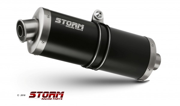 Storm by MIVV BLACK 2x SLIP-ON OVAL Edelstahl für TRIUMPH SPEED TRIPLE 05-06, 74.AT.005.LX2B